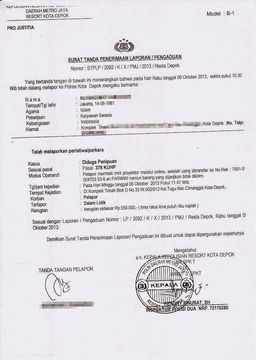 Contoh Surat Kuasa Pelaporan Ke Polisi Pdf Contoh Lif Co Id