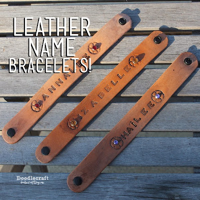 http://www.doodlecraftblog.com/2014/12/stamped-leather-name-bracelets.html