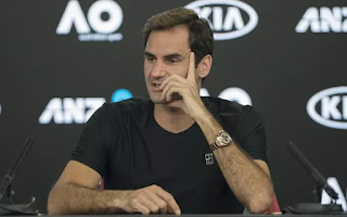 Federer in a press conference