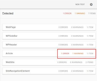 setelah di cek di data structure google terdapat kesalahan kode di blog nya