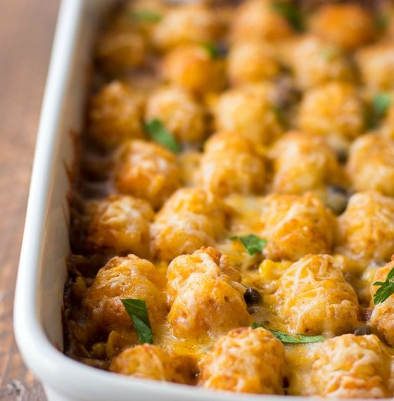 MEXICAN TATER TOT CASSEROLE #Mexican #Dinner
