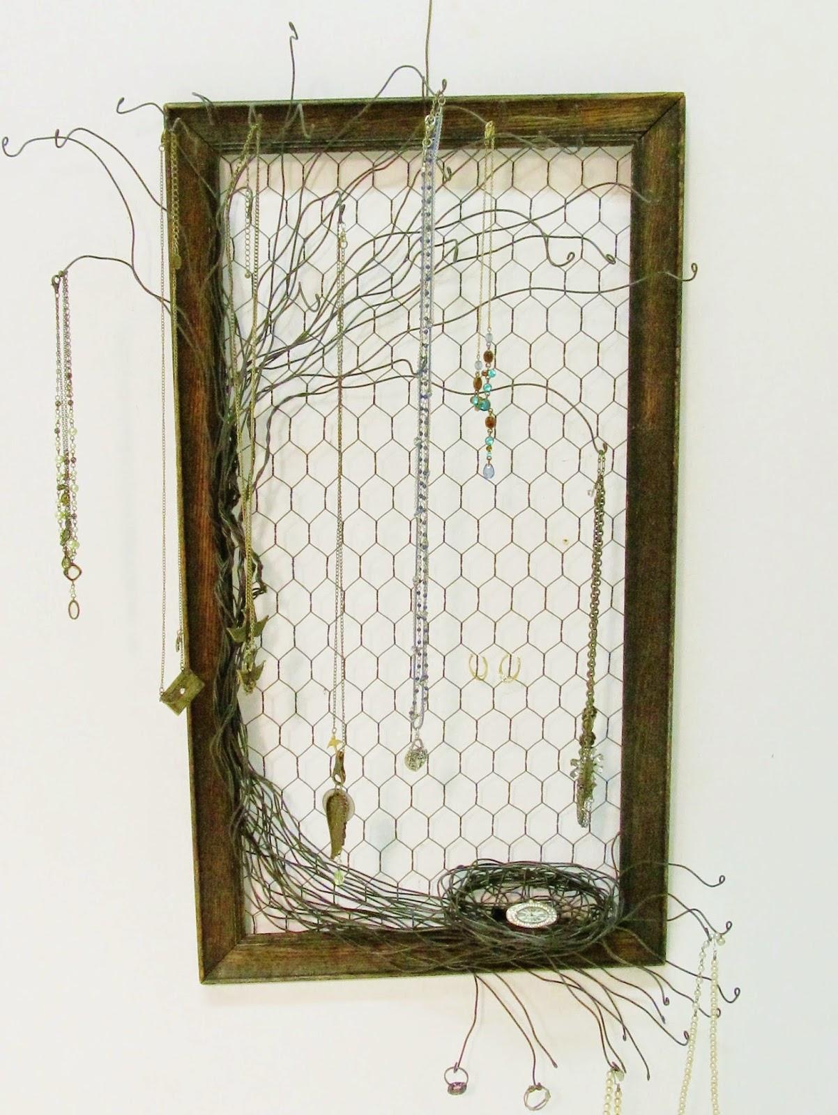Home Decor Sarasota Sassytrash Vintage Wood Frame And Wire Tree Jewelry Holder