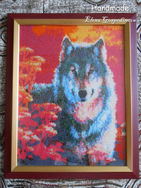 """картина """"волк"""", вышитая картина с волком купить, ручная работа"""