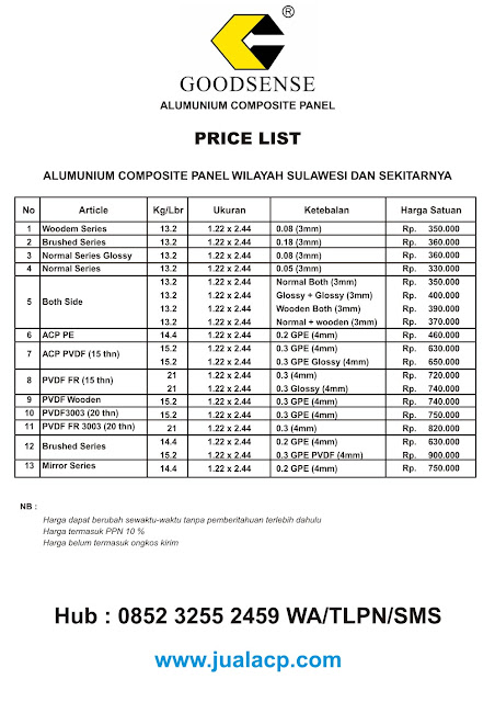 harga acp goodsense sulawesi | harga acp murah sulawesi