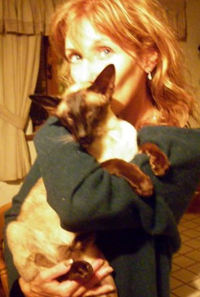 Toni Clarke with her stolen Siamese cat