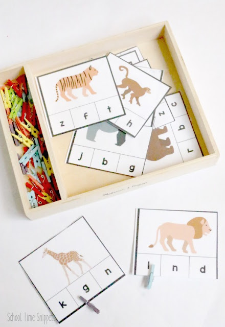Zoo Animals Beginning Sound Clip Cards for Preschoolers