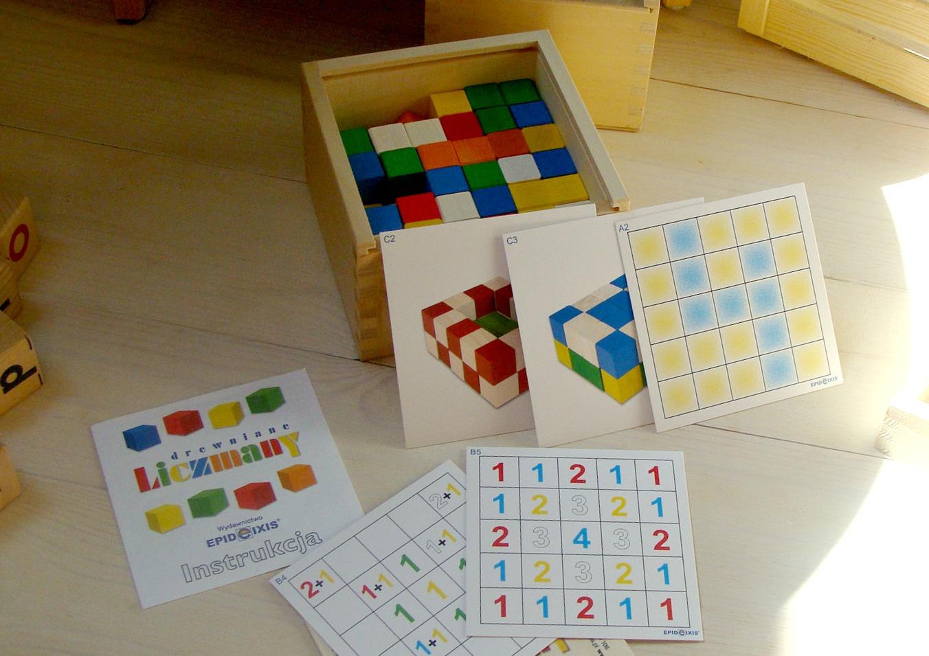 Zabawa i nauka inspirowana metodą Montessori, klocki Edu, Liczmany, Memo przestrzenne