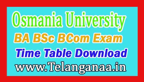OU Degree Time Table 2017 BA BSc BCom Exam Time Table