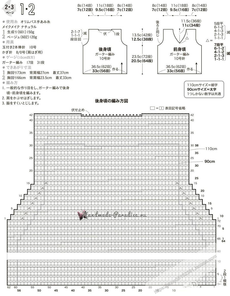 Схемы вязания детской теплой безрукавки спицами (1)