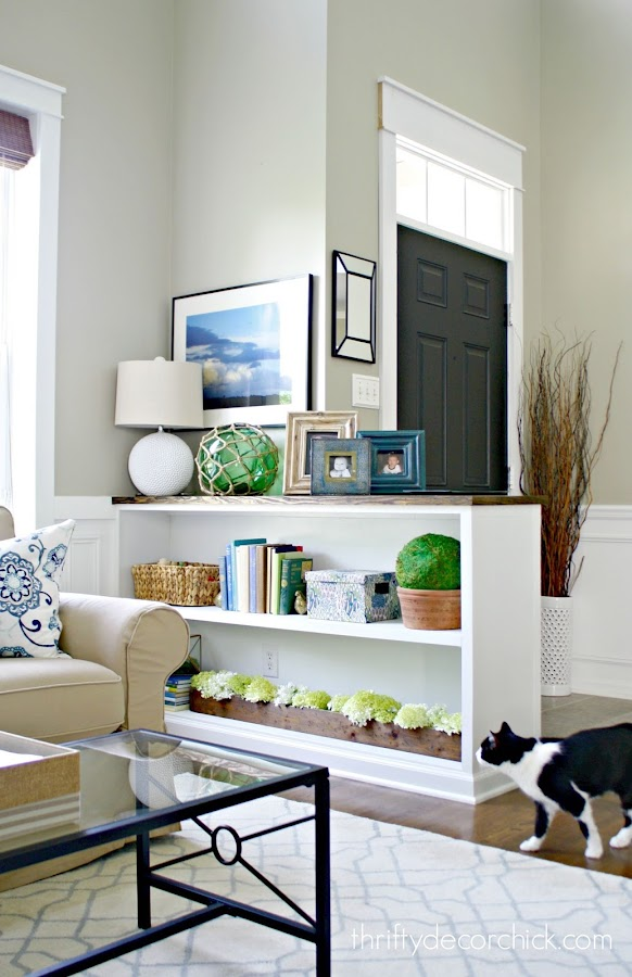 DIY half wall bookcase
