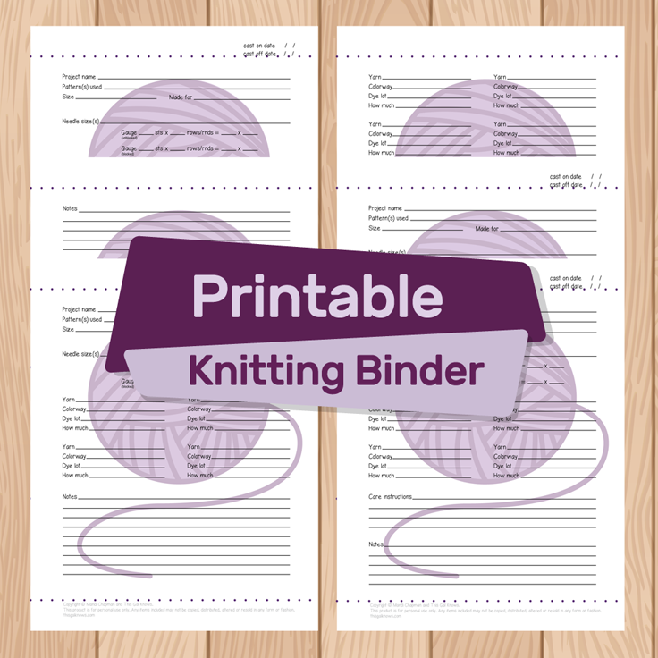 This Gal Knows: Knitting Binder Printable