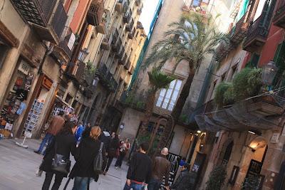 Montcada Street near Born boulevard in Barcelona