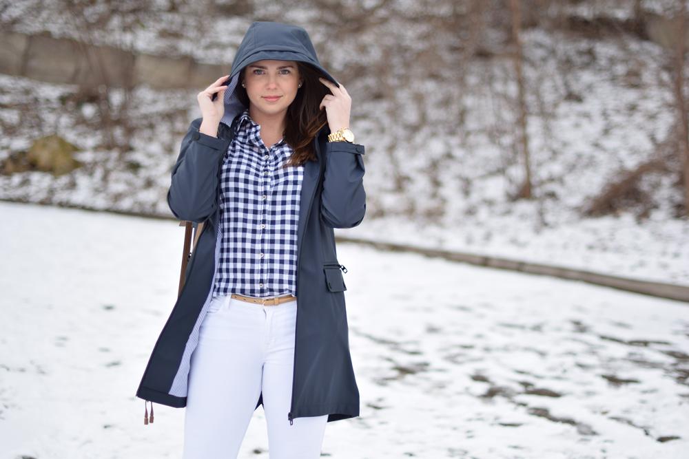 Navy Zara rain coat with preppy outfit.