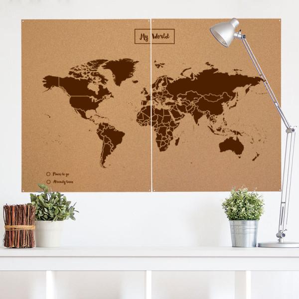 Mapamundi decora con madera y corcho el armario de lu by jane - Mapa de corcho ...