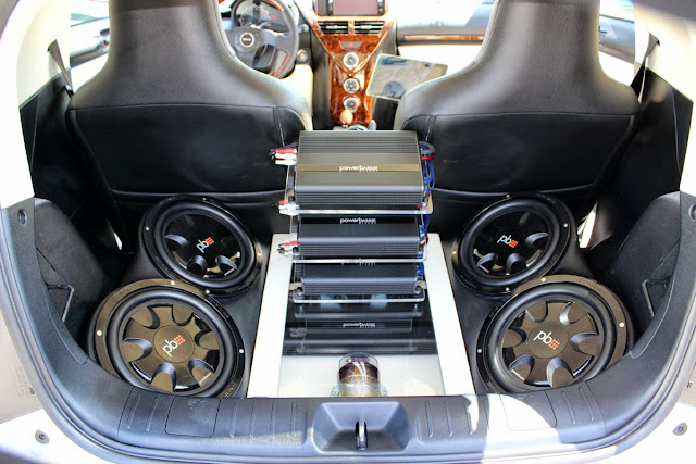 PowerBass setup in a Scion iQ
