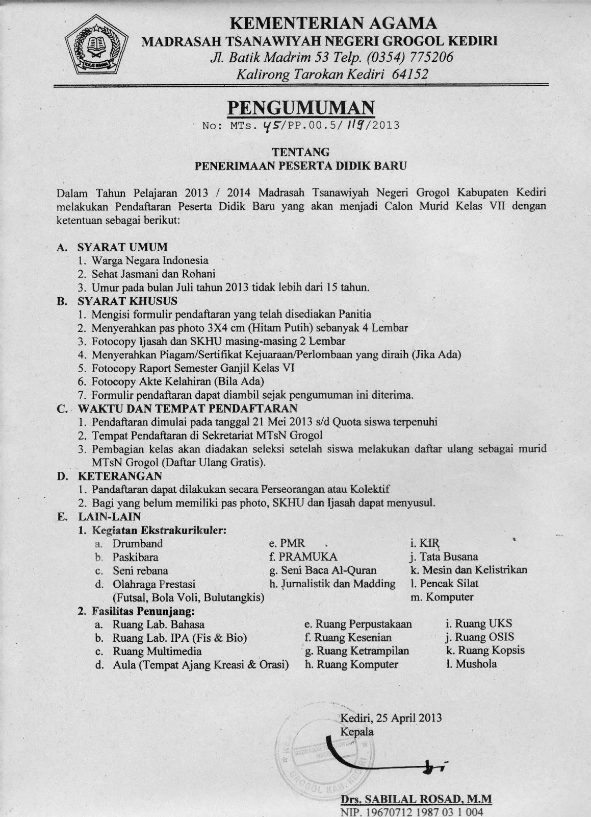 MTsN 4 Kediri (MTsN Grogol): PENDAFTARAN PESERTA DIDIK