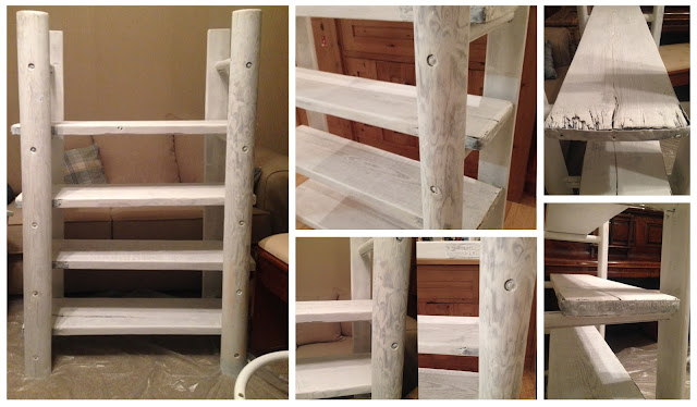 shabby chic, whitewashed, furniture, DIY, do it yourself, homemade, upcycled, sanding, power tools, table, chairs, thrifty, scaffolding furniture, scaffolding planks,make do and mend, shabby chic bookcase, ladder bookcase, ladder shelf, scaffolding plank furniture
