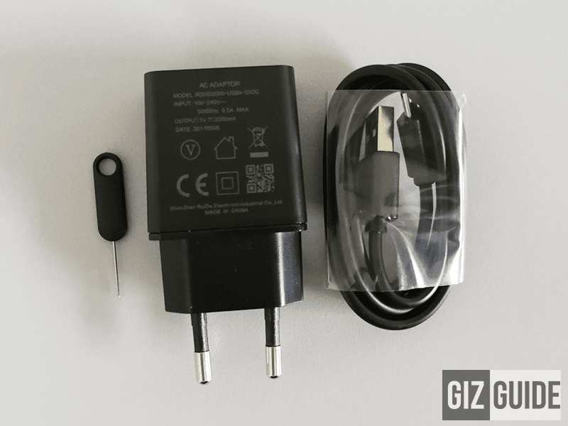 SIM ejector tool, 2A USB wall charger and USB cables