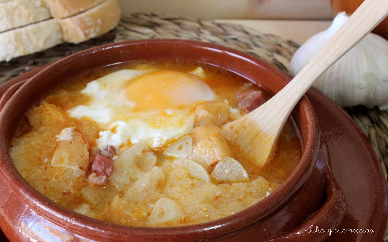 Julia y sus recetas sopa de ajo o sopa castellana - Sopa castellana casera ...