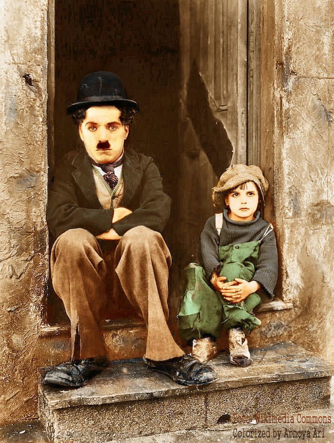 Charles Chaplin, Jackie Coogan, The Kid,  color, colorization, colorized