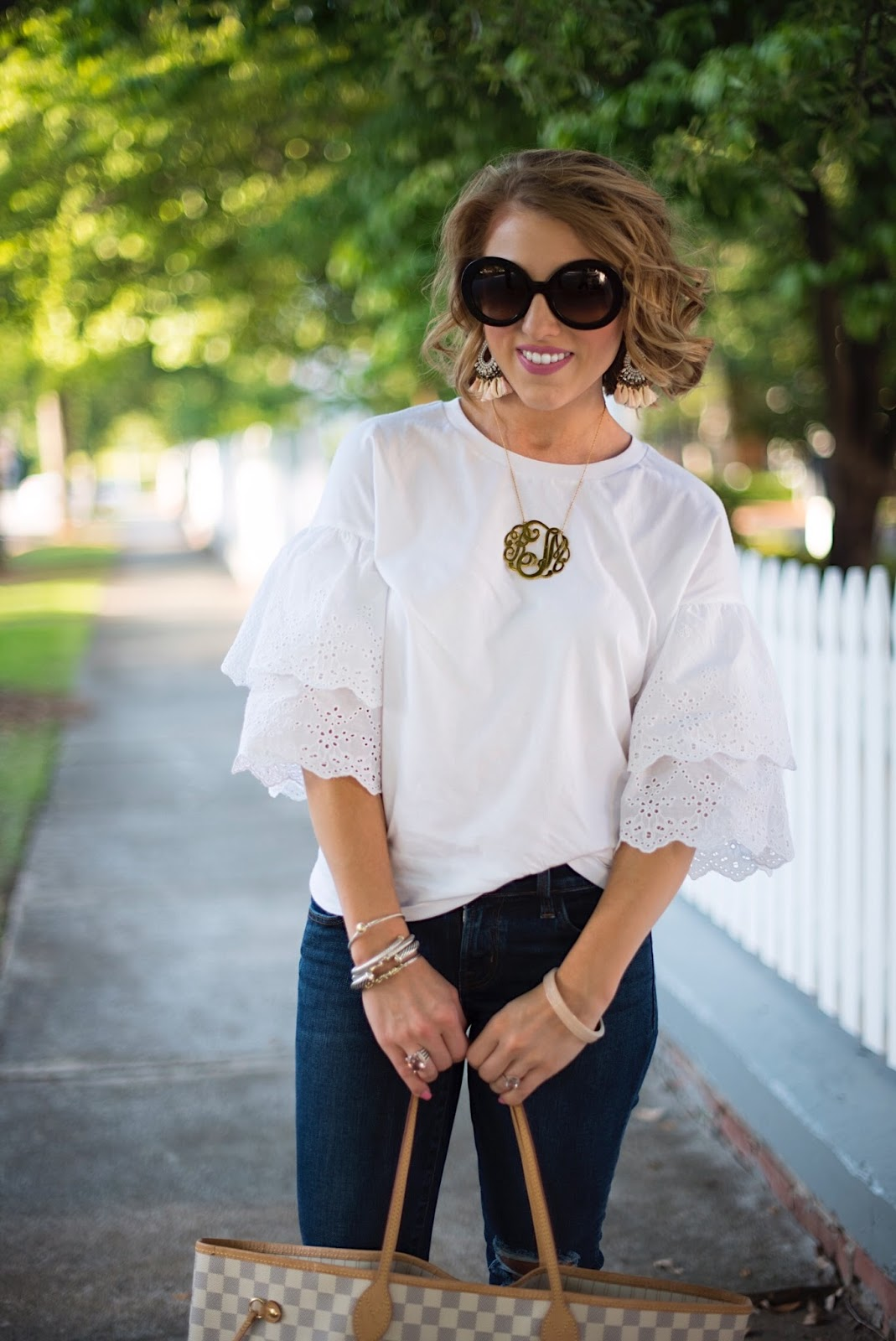 Eyelet, Ruffle Sleeves - Click through to see more on Something Delightful.