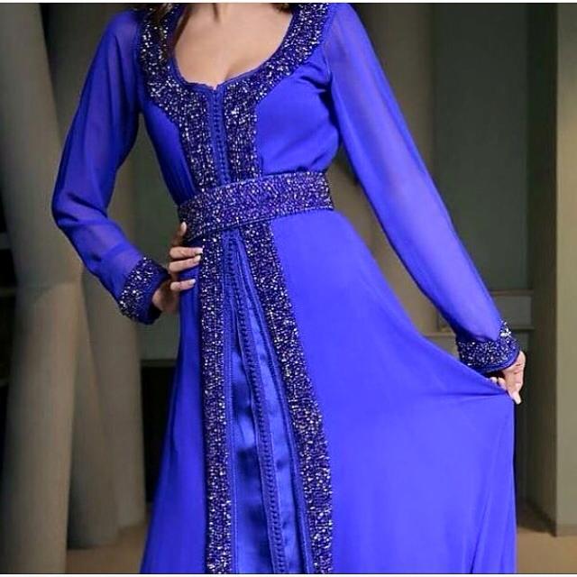 caftan bleu 2016 perlé