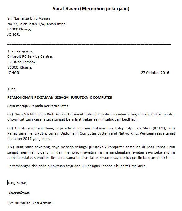 Format Surat Rasmi Kerajaan Malaysia Rasmi Q