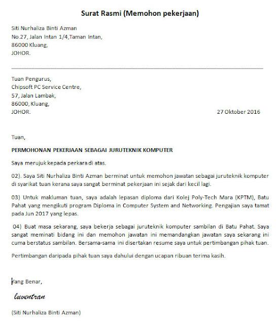 Contoh Surat Permohonan Kerja Rasmi