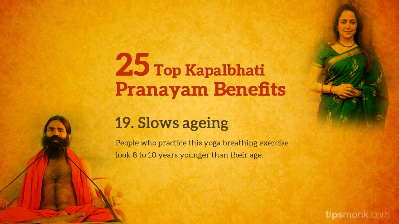 Kapalbhati pranayam benefits - beauty, slows ageing, wrinkles, pimples