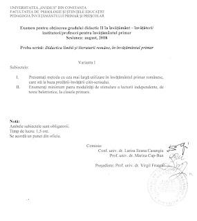 Subiecte grad II limba romana invatatori - Constanta 2018