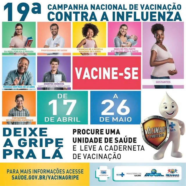 Em Piranhas, campanha municipal de vacinação contra a Influenza segue até o dia 26 de maio