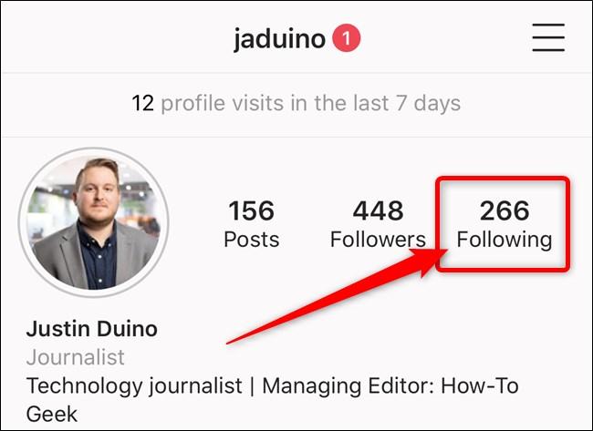 Opzione seguiti Instagram