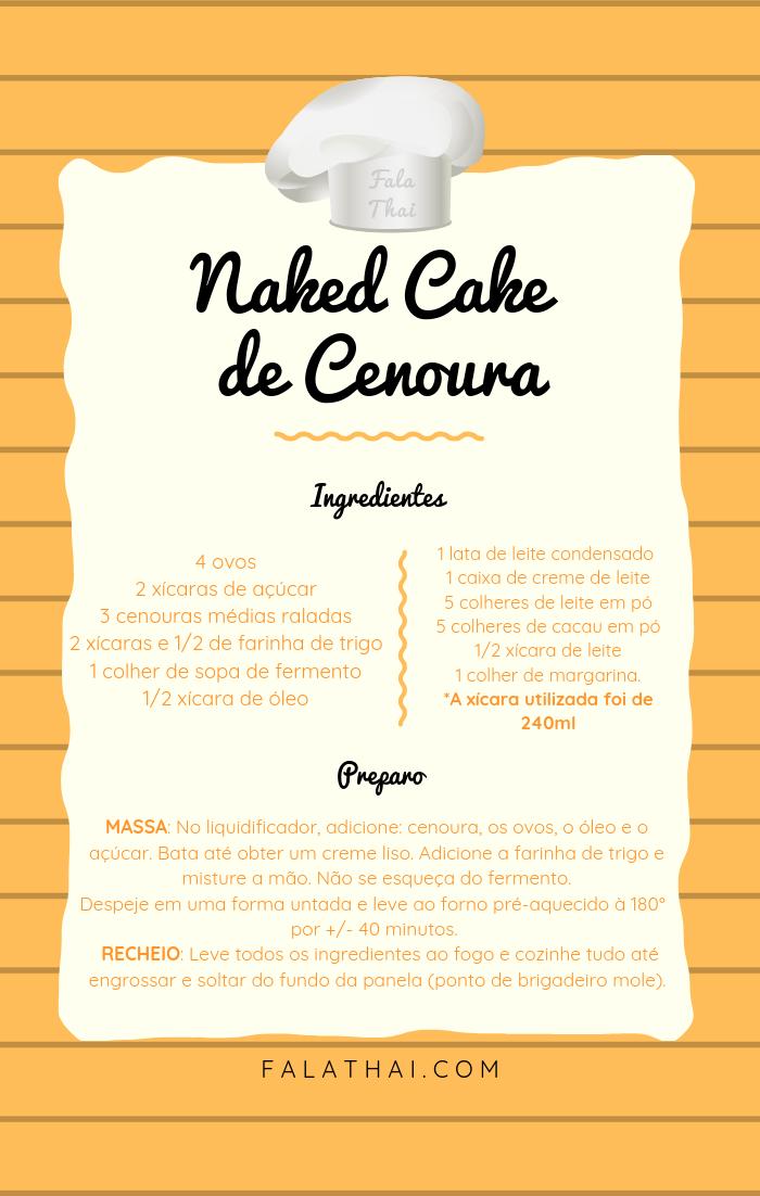 receita naked cake de cenoura