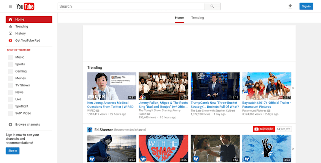 halaman depan beranda YouTube 2017