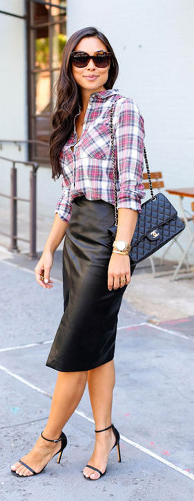 Black Pencil Skirt Outfit Ideas #Skirt #Outfit