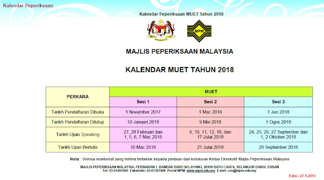 Kalendar Peperiksaan MUET 2018 MPM