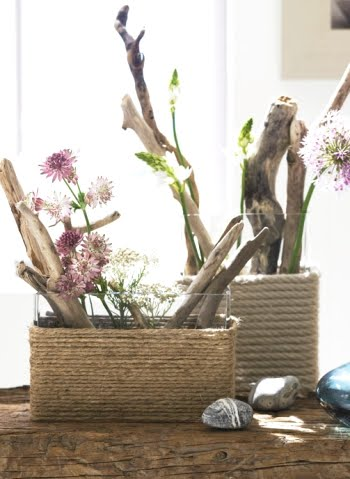 square vases with rope wrap