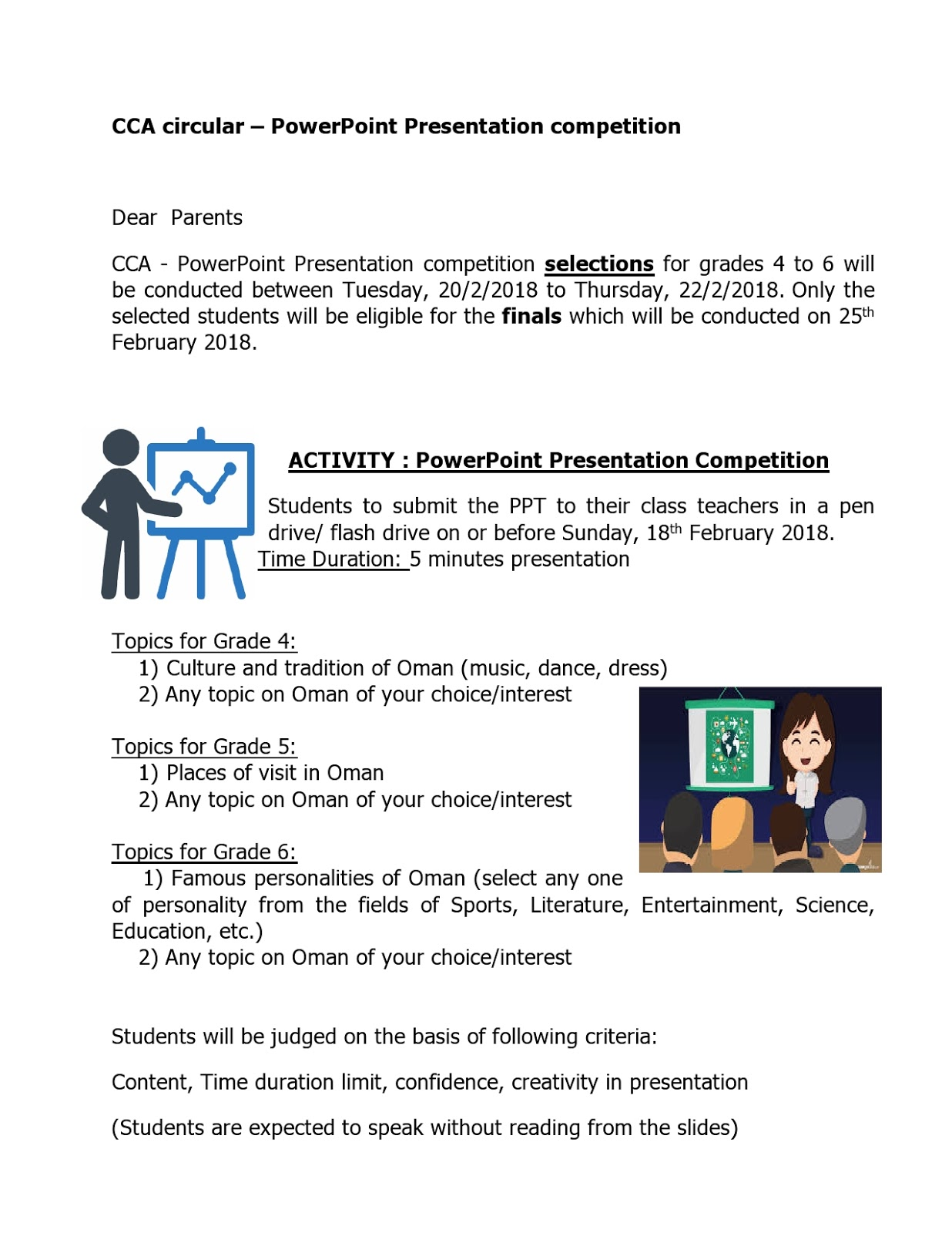 Reminder CCA Circular - PowerPoint Presentation Competition