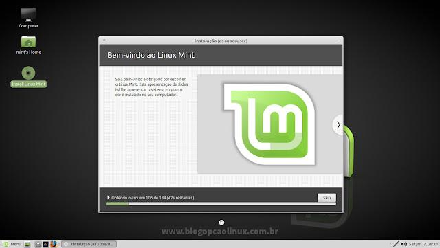 O Linux Mint está sendo instalado, aguarde...