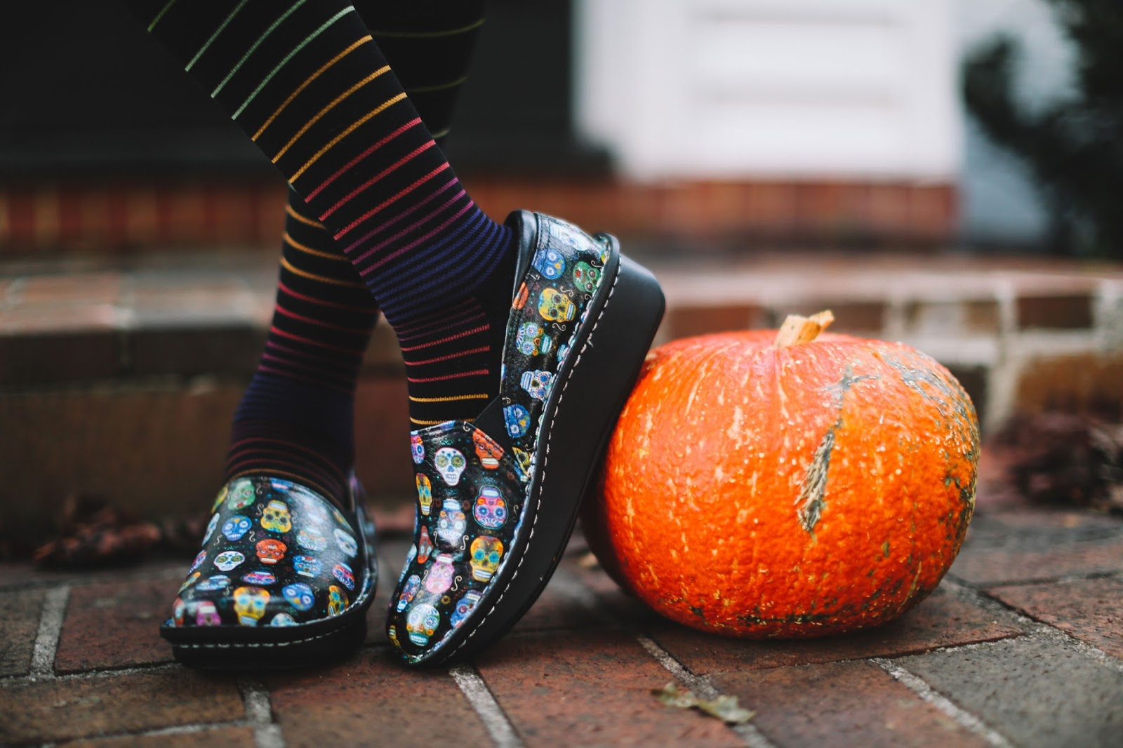 As cute as they are spooky the Debra Sugar Skulls was our best selling shoe of Fall 2015. Bright colors, playful accents, and toothy grins adorn the loafer in a way that reminds us of October's fall harvest festivities. Sugar skulls are all over the place in Western culture adorning everything from rolling pins to bracelets to area rugs to S'well water bottles. As you slip into your Sockwells and don your Debras in Fall 2016, we invite you to reflect on the origins of this seasonal skull.  Skeletons are an iconic part of Dia de los Muertos, a Mexican celebration of the Day of the Dead. The three-day long fiesta begins on October 31st and ending on November 2nd. On these days, people believe that honoring late friends, family, and neighbors will bring future happiness to the living the following year.  In preparation for this homecoming, the families craft altars in their homes and cemeteries decorating them with the favorite foods, drinks, and gifts of the dearly departed. People place sugar skulls on the altars along with marigolds and pan de muerto. One of the most famous of the skeletal characters to make an appearance for the festivities is La Catrina. The creation of Antonio Vanegas Arroyo, she is an elegantly dressed figure wearing a French-inspired hat. Intended to make a political statement in pre-Revolutionary Mexico she represents wealth and serves as a reminder that death is the one true equalizer between classes.  The calaveritas de azucar are a combination of sugar, water, and meringue powder you press into a skull mold. Decorated with bright icings, marigolds, foil, and even the name of the deceased these skulls are meant to be colorful- a representation and celebration of the living. Mexicans see this vibrant pigment as a sweet reminder of the inevitability of the afterlife.  In contrast to Halloween, when people fear and evade death at all costs, Dia de los Muertos is intended to be a celebration and the Mexican attitude toward death itself is reflected in the playful and celebratory papier mache parades that flood the streets of Mexico City. Attendees paint their faces to joyfully dance on the line between life and death before heading to late night candle light vigils in cemeteries.  How can you get in the mood for this celebration of all things Day of the Dead? Your favorite Alegrias are a good start, but we want to sweeten the deal with a gift with purchase to keep your feet comfy and warm while you attend your favorite autumn festivities.   That's right! You heard us! We've partnered with Sockwell to give away a free pair with every purchase of a Debra Sugar Skull or Keli PRO Sugar Skull Dottie between now and October 31st.  What's so special about these socks? Made with a merino wool and bamboo blend these socks are meant to be high-performance compression socks while also being visually attractive and physically comfortable. The designers kept the wearer's needs in mind and incorporated two levels of graduated compression. Better yet these socks are all-American in both the materials and mills used in production.  Even if you already have your Alegria Sugar Skull shoes, you'll want to pick up a pair of Sockwell socks for the perfect match in comfort and style.  Hit the leaf-covered streets this October in the most popular pattern of the season with the best socks you've ever worn, and you'll be ready for whatever tricks and treats come your way. Happy Harvest!