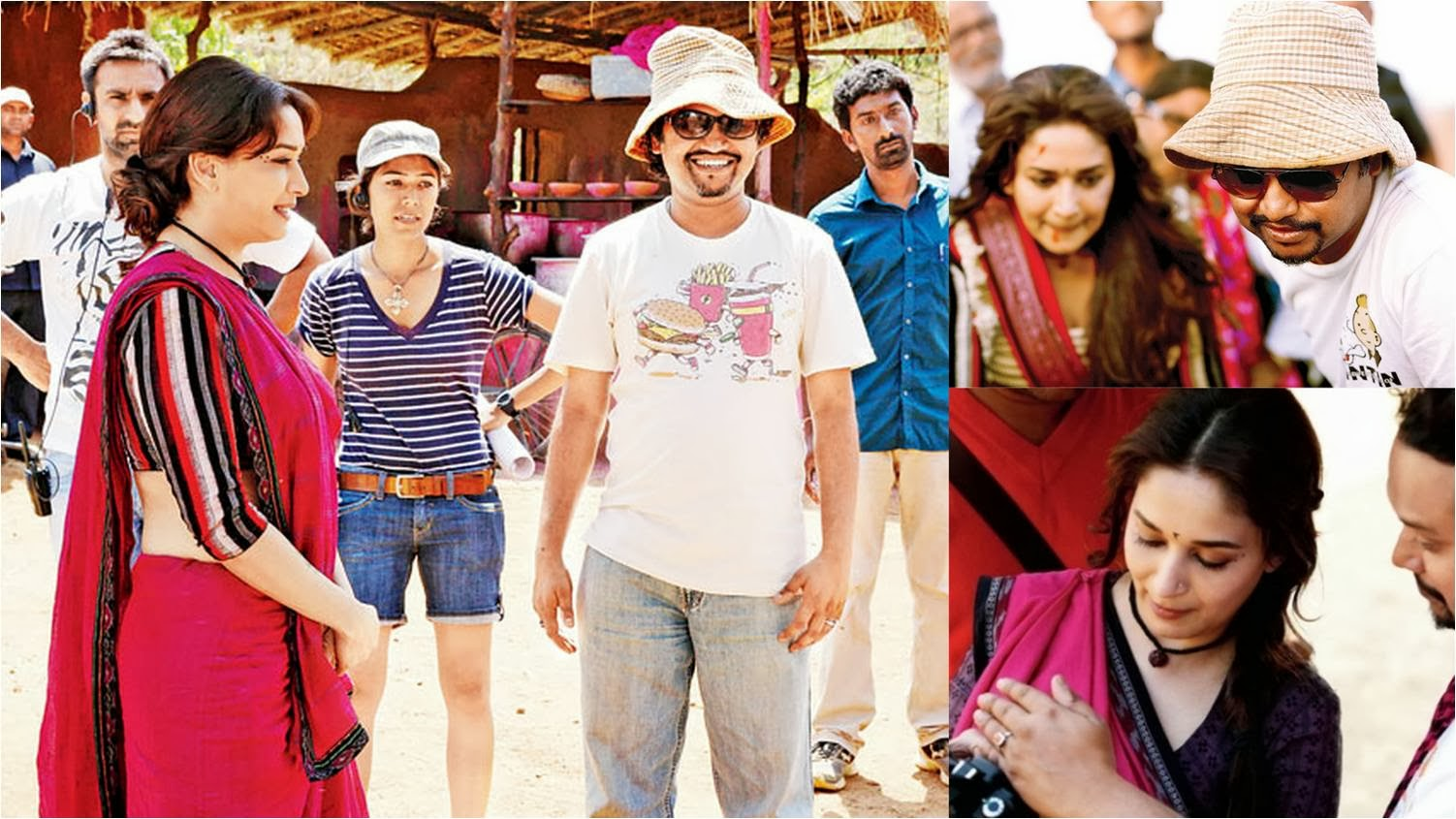 Madhuri Dixit checking back her filming video in camera at shooting location of Gulaab Gang movie