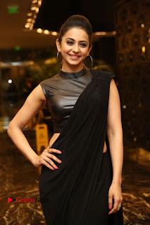 Actress Rakul Preet Singh Stills in Black Saree at Rayudu Movie Audio Launch  0025.JPG