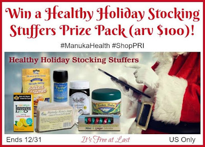 Enter the Healthy #ManukaHoney Holiday Stocking Stuffers Prize Pack Giveaway. Ends 12/31