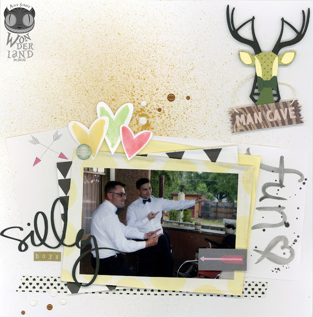 Silly Boys:  A Wedding Scrapbook Layout by Alice Scraps Wonderland   A fun and fresh take matches the mood of the photos and keeps the layout from being too feminine while featuring the men of the bridal party.