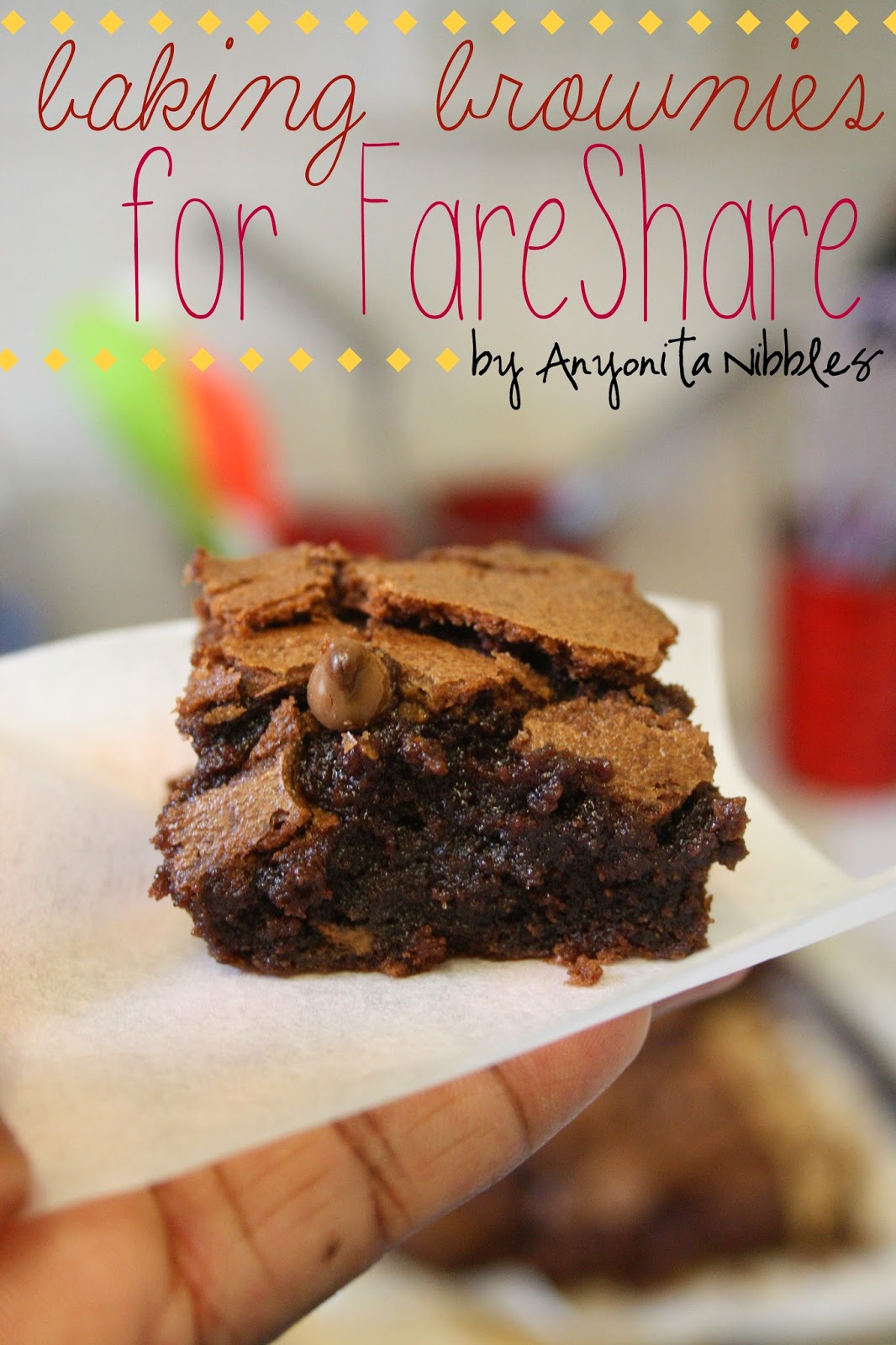 Gluten free brownies for the UK-based food charity, FareShare from Anyonita Nibbles