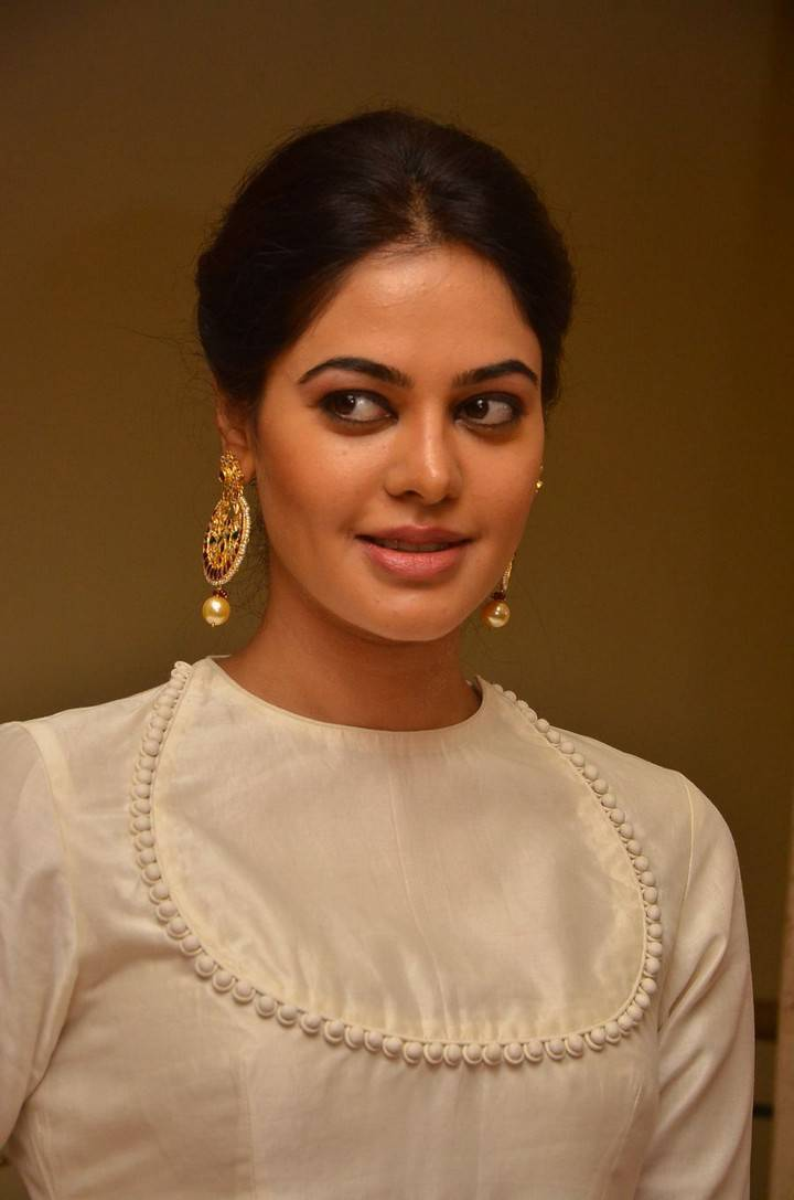 Glamorous Actress Bindu Madhavi Face Closeup In White Dress