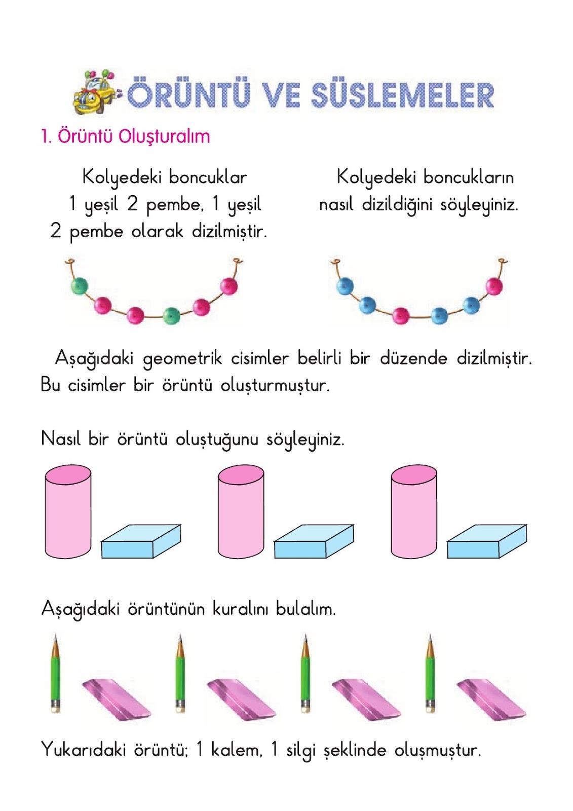 1 Sinif Matematik Oruntu Olusturalim Calisma Kagidi Ders Kitabi