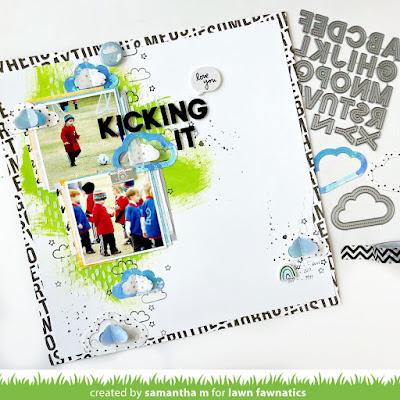 Kicking It! Scrapbook Layout by Samantha Mann, Lawn Fawn, Lawn Fawnatics Challenge, Mixed Media, Clouds, Soccer, Scrapbooking #lawnfawn #lawnfawnatics #scrapbooklayout #layout #scrapbooking #mixedmedia #stamping