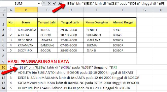 Fungsi Excel untuk Menggabungkan Kata