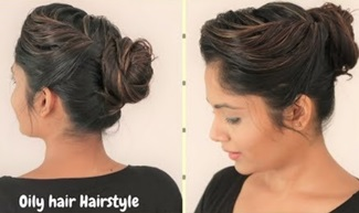 Quick & Easy Hairstyle For Oily Hair | Everyday Bun/Updo for Oily Hair